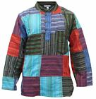 Mens Colorful Patchwork Grandad Style Shirts Festival Hippie Tops