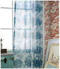 One pair Blue Floral Voile Curtain Drape Panel Window Door Sheer Tulle