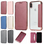 Luxury Leather Clear TPU Back Card Wallet Flip Case Cover iPhone X 6 7 8 Plus