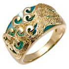 Chinese Lucky Clouds Ring Blue Mother of Pearl & 18K Yellow Gold Plated Silver