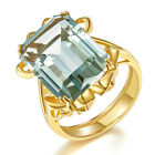 Huge Green Amethyst Ring Solid 925 Sterling Silver Women's Party Birthday Gift