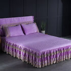 Lace Embroidery Quilted Dust Ruffle Bed Skirt Full Queen King Flannel Bed Cover