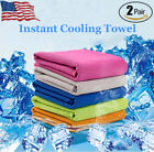 2Pcs Instant Cooling Towel ICE Cold Golf Cycling Jogging Gym Sports Outdoor  image