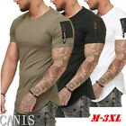 Mens Slim Fit O Neck Short Sleeve zipper Muscle Tee T shirt Casual Blouse Tops