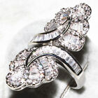 Vintage Silver Huge White Sapphire Ring Wedding Bridal Women Jewelry Size 6-10