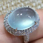 Simple White Gold Filled Moonstone Ring Women Wedding Bridal Jewelry Gift Sz6-10 image