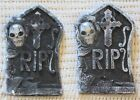 """LIGHT UP SKULL TOMBSTONE  Set of 2  10"""" Halloween Party Favor Tabletop Decor"""