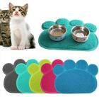 Paw Shape Dog Puppy Cat PVC Placemat Pet Dish Bowl Feeding Food Mat Wipe Clean