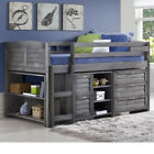 Cosy Grey Wood Midsleeper Storage Bed 3ft Single with 4 Mattress Options