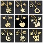 Fashion Gold Rose Butterfly Tree Stainless Steel Earrings Necklace Jewelry Sets