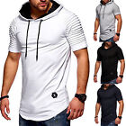 Mens Short Sleeve T Shirt Hooded Hoodie Slim Muscle Fit Gym Plain Casual Tops image