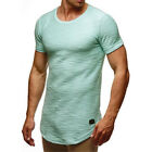 Mens Short Sleeve Gym T Shirt Long Slim Muscle Fit Plain Tops Curved Hem Blouse