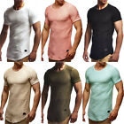 Mens Short Sleeve Gym T Shirt Long Slim Muscle Fit Plain Tops Curved Hem Blouse image