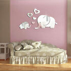 Love Heart Elephant 3d Acrylic Mirror Stickers Baby Nursery Room Wall Decoration