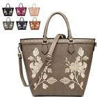 Ladies Faux Leather Bucket Handbag Floral Embroidere Shoulder Bag Tote M7573