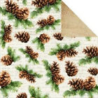 12x12 Christmas Scrapbook Paper-BASECOAT-TWIG & BERRY Pine Cone Wood Holly