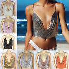 Women Metal Crop Top Backless Bralette Chain Summer Sequin B