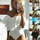 Womens Ruffled Off the Shoulder Full Lace Cross Bodycon Ladi