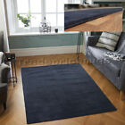 SMALL - LARGE DARK CHARCOAL / DEEP NAVY BLUE THICK PILE WOOL BOSTON BORDER RUG