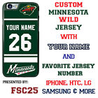 Minnesota Wild Personalized Green Hockey Jersey Phone Case Cover for iPhone etc.