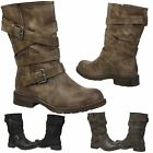 NEW WOMENS SHOES LADIES ANKLE BOOTS MID CALF BIKER BUCKLE STRAPPY CASUAL PULL ON