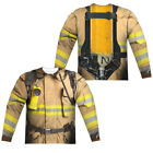 FIREFIGHTER COSTUME Adult Men's Long Sleeve Sublimated T-Shirt F/B SM-3XL