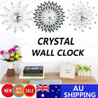 Modern 3d Diamond Crystal Wall Clock Luxury Art Metal Round Home Office Decor