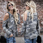Womens Camo Cold Shoulder Long Sleeve Ladies Casual T-Shirt