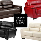 TAURO Pocket-Sprung Leather Sofas 3 + 2 Seaters + Armchairs w/ Lumber Support