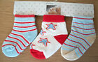 0-6m Baby Boys Socks 3 Pairs Multi Pack Baby Cotton Socks Baby Blue Red White