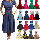 WOMENS 40s 50s RETRO VINTAGE SWING PARTY ROCKABILLY DRESS GOWN MAXIDRESS US