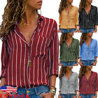 US Womens Long Sleeve Loose Blouse Casual Tops Ladies V-neck Button-up Shirt