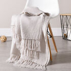Soft Knitted Throw Blanket Bed Sofa Couch Decorative Fringe Waffle Pattern 51x67 image