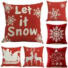 Snowflake Christmas In Red Linen Throw Pillow Case Cushion Cover Square Gifts