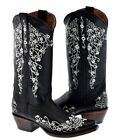 Women's Rhinestone Embroidered New Black Leather Cowboy Boots Riding Snip Toe
