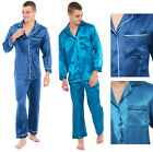 Mens Satin Pyjamas Teal Turquoise Navy Blue Traditional Buttoned Collar SilkFeel