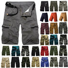 Mens Cargo Pants Shorts Summer Casual Military Camo Combat Army Work Trousers US