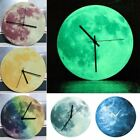 12'' Noctilucent Colorful Moon Pattern Wall Clock Round Home Decor Kid Bedroom