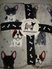 Berkshire Doggie Drawings by Lili Chin Plush Blanket FRENCH BULLDOG