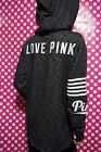 VICTORIA'S SECRET PINK FULL ZIP HOODIE SWEATSHIRT BLACK MARL SIDE SLIT S