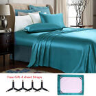 Luxury 2/4 Pieces Super Soft Satin Silky Bed Sheet Set Deep Pocket ,Free Straps image
