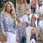 Womens Boho Floral Long Sleeve Blouse Baggy Tops Ladies V Neck T Shirt Pullover