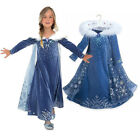 Frozen Queen Elsa Princess Cosplay Costume Kids Girl Hooded Cape Halloween Dress
