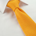 Luxury Hand-Made Plain Knitted Cotton Tie Skinny Slim Red Moss Green Orange Blue