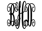 Scroll Monogram Initial 3 Letter Vinyl Decal Sticker Wall Cu