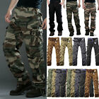 Mens Camo Cargo Combat Long Pants Military Army Camping Work Trousers Bottoms US