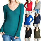 Thermal V-NECK NECK Long Sleeve Basic Top Womens T-Shirt Plain Soft Waffle knit