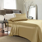 4 Piece Satin Silky Bed Sheet Set Full Queen King Super Soft Deep Pocket Golden image