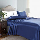 4 Piece Satin Silky Bed Sheet Set Full Queen King Super Soft Deep Pocket Blue image