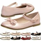 NEW GIRLS SHOES CHILDRENS MARY JANE FLATS ANKLE STRAP BOW DETAIL CASUAL SIZE